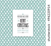 merry christmas card tree... | Shutterstock .eps vector #496220914