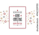 merry christmas card snowflakes ... | Shutterstock .eps vector #496220950