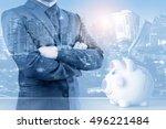 double exposure of businessman... | Shutterstock . vector #496221484