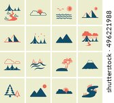 landscape icons  mono vector... | Shutterstock .eps vector #496221988