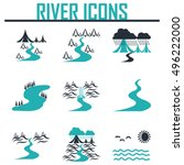 river  and landscape icons | Shutterstock .eps vector #496222000