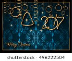 2017 happy new year background... | Shutterstock .eps vector #496222504