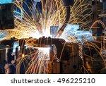 automatic welding robots... | Shutterstock . vector #496225210