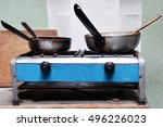 Old Gas Cooker With Dirty Pans