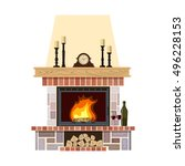 flaming fireplace in the parlor.... | Shutterstock .eps vector #496228153