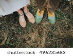 the bride in a dress and shoes  ... | Shutterstock . vector #496235683