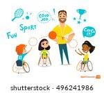 handisport. handicapped kids....   Shutterstock .eps vector #496241986