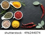 aromatic and colorful spices in ... | Shutterstock . vector #496244074