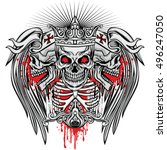 gothic coat of arms with skull...   Shutterstock .eps vector #496247050