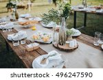 the composition of flowers and... | Shutterstock . vector #496247590