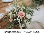 the composition of flowers and... | Shutterstock . vector #496247656