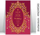 indian wedding invitation or... | Shutterstock .eps vector #496249540