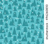 christmas and new year seamless ... | Shutterstock .eps vector #496260850