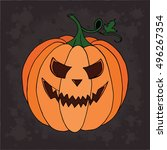 pumpkin vector on black... | Shutterstock .eps vector #496267354