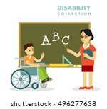 disability school children and... | Shutterstock .eps vector #496277638