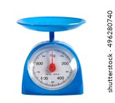 Small photo of Blue scales weighting products on white background.