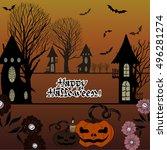 vector image. halloween. use... | Shutterstock .eps vector #496281274