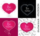 vector set of greeting cards... | Shutterstock .eps vector #496282654
