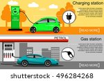 electric vehicle and gasoline... | Shutterstock .eps vector #496284268