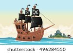 group of cartoon pirates on a... | Shutterstock .eps vector #496284550