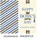 happy boss day greeting card or ... | Shutterstock .eps vector #496285714