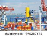 port cargo crane and container... | Shutterstock . vector #496287676