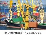 bulk cargo ship under port... | Shutterstock . vector #496287718