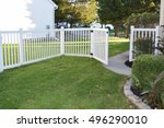 white vinyl backyard fence | Shutterstock . vector #496290010