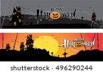 halloween banner set pumpkin... | Shutterstock .eps vector #496290244