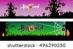 halloween banner set pumpkin... | Shutterstock .eps vector #496290250
