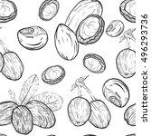 shea nuts seamless pattern.  | Shutterstock .eps vector #496293736