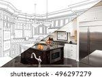 diagonal split screen of... | Shutterstock . vector #496297279
