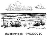 ocean or sea beach with waves ... | Shutterstock .eps vector #496300210