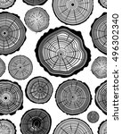 seamless pattern of wood ring ... | Shutterstock .eps vector #496302340