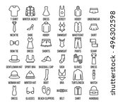 set of clothing icons in modern ... | Shutterstock .eps vector #496302598
