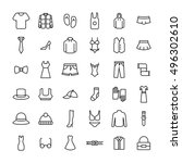 set of clothing icons in modern ... | Shutterstock .eps vector #496302610