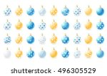 set of christmas balls in three ... | Shutterstock .eps vector #496305529