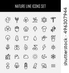 set of nature icons in modern... | Shutterstock .eps vector #496307944