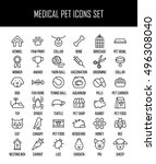 set of pet icons in modern thin ...