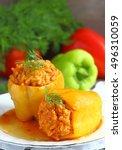 stuffed peppers | Shutterstock . vector #496310059