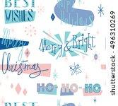 retro christmas seamless... | Shutterstock .eps vector #496310269