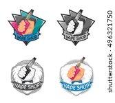 vape shop badge  logo or symbol ... | Shutterstock .eps vector #496321750