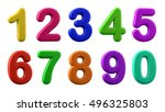 colorful numbers  plasticine in ... | Shutterstock . vector #496325803