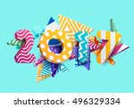 New year 2017. Colorful design. | Shutterstock vector #496329334