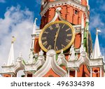 the kremlin clock or kremlin... | Shutterstock . vector #496334398