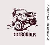 offroad suv car monochrome... | Shutterstock .eps vector #496335640