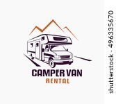 camper van outlined sketch ... | Shutterstock .eps vector #496335670