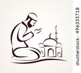 muslim prayer outlined vector... | Shutterstock .eps vector #496335718