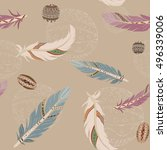 seamless pattern with feathers  ... | Shutterstock .eps vector #496339006