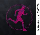 vector stylized line runner | Shutterstock .eps vector #496340758